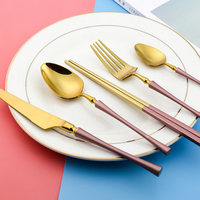 Luxury Dinnerware Sets Stainless Steel Pink Blue Black Knife Fork Spoon Chopstick Western Food Set Kitchen Tableware