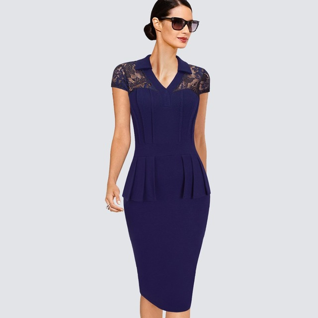 19bdd130e7a Women Elegant Lace Patchwork Short Sleeve Tunic Peplum Dress Summer Casual  Work Office Business Bodycon Lady Dress HB387