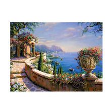 Oil paint painting by numbers diy picture drawing coloring on canvas hand wall number landscape