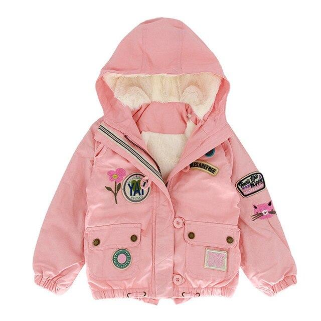 Пальто для девочек с нашивками модные Вышивка цветочный куртка Детские Симпатичные для маленьких девочек Костюмы зимняя розовая флисовая куртка для Обувь для девочек