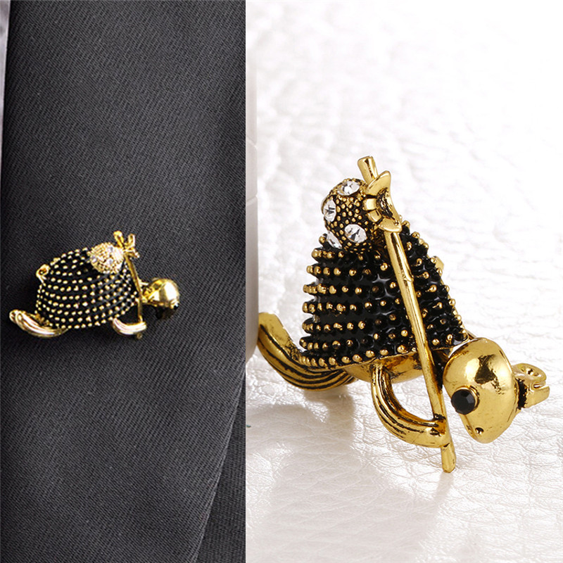 Vintage Style Walking Tortoise Brooch Women Kids Clothes Accessories Crystals Turtle Animal Brooches Suit Corsage Pins