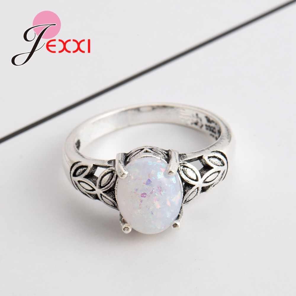 คุณภาพสูง 925 แหวนเงินสเตอร์ลิงขายส่งแหวนหมั้นงานแต่งงานหรูหราโอปอลหินแหวนที่ดีที่สุดของขวัญใหม่