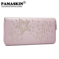 PAMASKIN Long Women Zipper Wallets With Rivet Diamonds 2018 Hot Sales Premium Real Leather Female Preppy