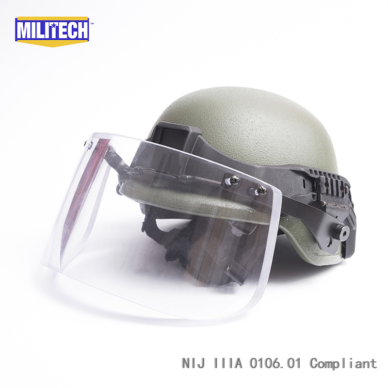 Militech OD Color PASGT Full Cut Tactical Ballistic Helmet With Visor Shield Face Protection Set Deal Kevlar Bullet Proof Helmet
