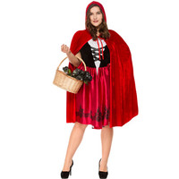 S 3XL Large size Little Red Riding Hood Costume for Women Halloween Adult Cosplay Fantasia Dress+Cloak Cosplay Costume For Party