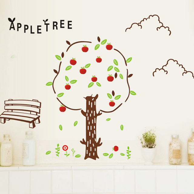 cartoon apple tree wall sticker for kids room living room sofa