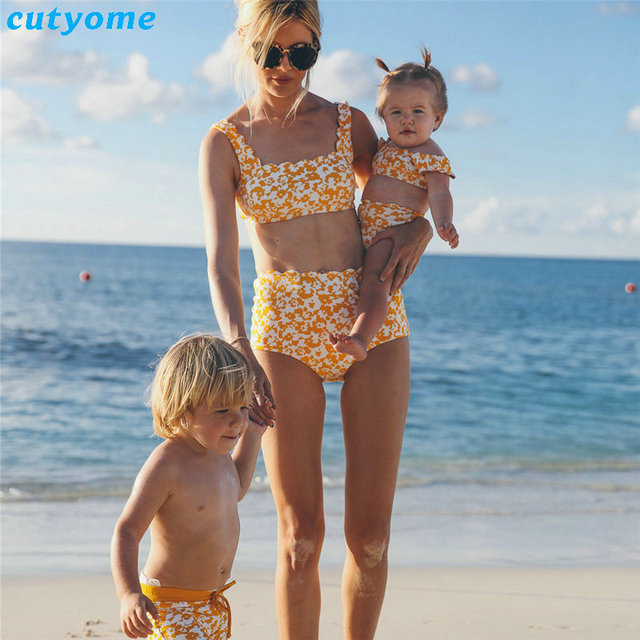 10e54555ab Family Mom And Daughter Matching Clothes Bikini Swimwear Set For Mother  Daughter Beach Holiday Swimsuits Women Girls Clothing