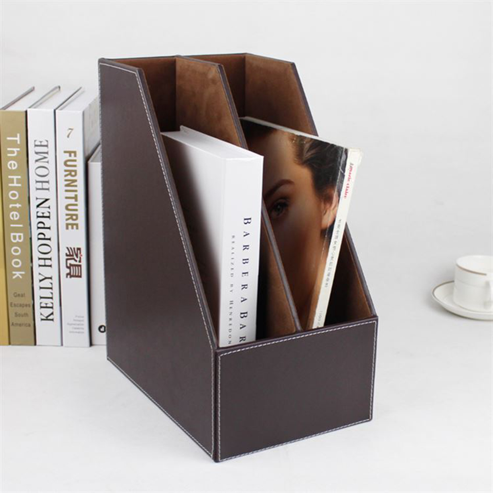 File Tray Lovely 2-grid A4 Wooden Leather Office Desktop File Book Magazine Stand Rack Holder Table Document Filing Box Organizer Brown
