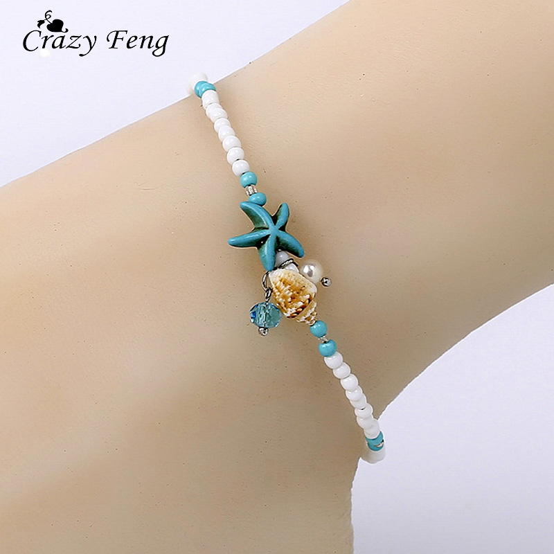 2018 Shell Beads Starfish Anklets for Women Beach Anklet Leg Bracelet Handmade Bohemian Foot Chain Boho Jewelry Sandals Gift