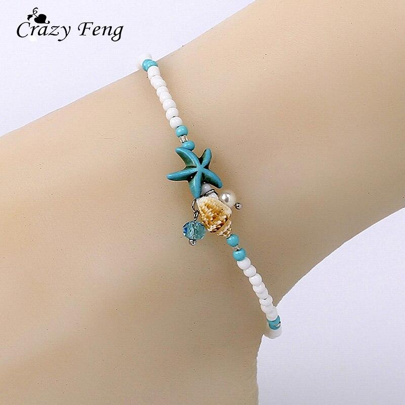 2018 Shell Beads Starfish Anklets for Women Beach Anklet Leg Bracelet Handmade Bohemian Foot Chain Boho Jewelry Sandals Gift(China)