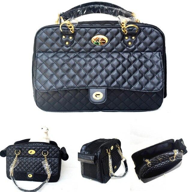 e14e7da7226a2 Projektant Pet Carrier Dog Bag Cat Black Leather zawiesia Dla Małych Psów  Koty Travel Carry Torby