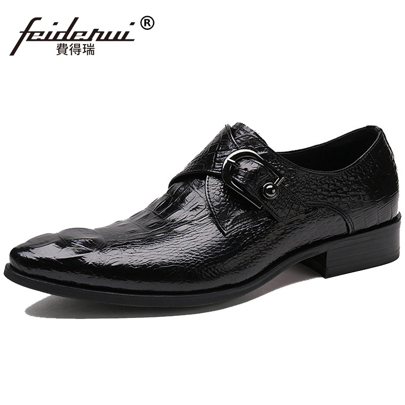 New Arrival Man Crocodile Dress Shoes Genuine Leather Monk Strap Oxfords Italian Pointed Toe Men's Brand Bridal Flats ZH53 2016 new fashion genuine leather formal brand man print oxfords men s derby pointed toe monk strap dress rubber shoes glm589