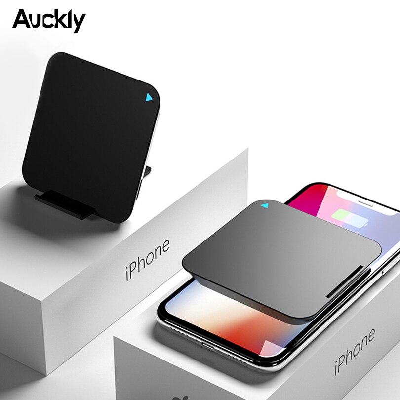 Auckly 10 w rápido carregador sem fio para iphone 8/x/xr 2 em 1 banco de potência portátil qi almofada de carregamento sem fio para samsung s9/s8 mais