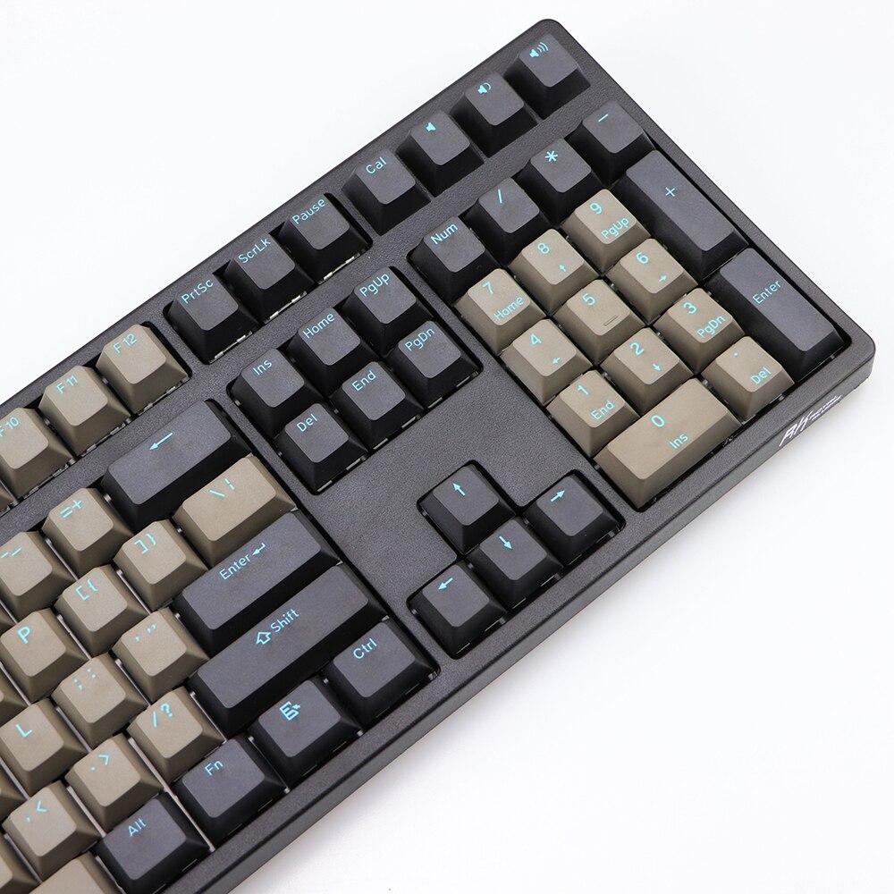 שנאים וספקי כוח זריקה זוגית PBT keycap שחור אפור מעורב כחול המילה Dolch 108 87 שרים בפרופיל keycaps עבור MX מתגי כובע מקש במקלדת (2)