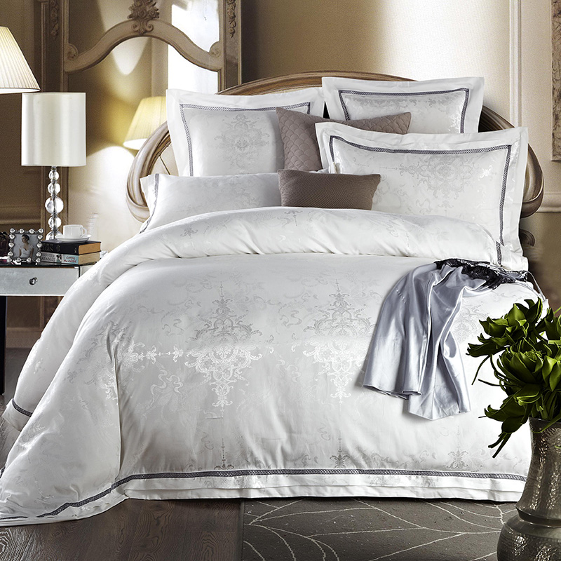 White Gold Silk Jacquard Luxury Bedding set QUEEN KING SIZE Cotton Bed sheet Fitted sheet Duvet cover linge de lit ropa de cama|Bedding Sets| |  - title=