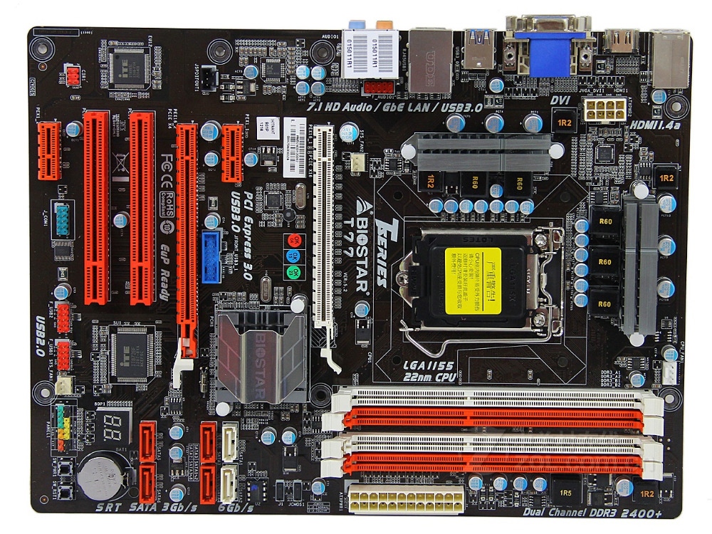 Free shipping original motherboard for Biostar T77 LGA 1155 DDR3 for 22nm CPU USB2.0 USB3.0 DVI VGA HDMI 32G Desktop Motherboard цена