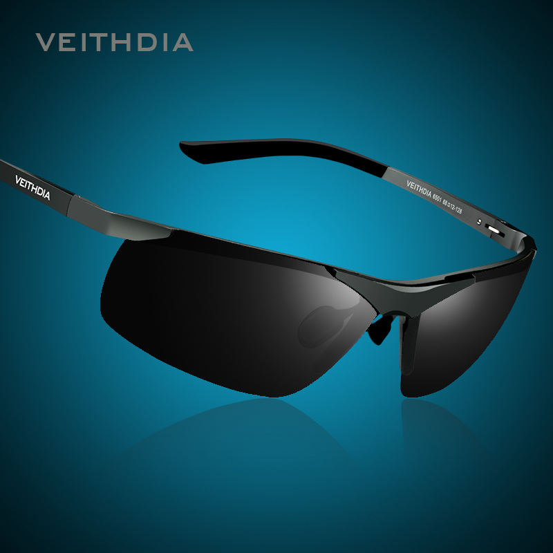 VEITHDIA Brand Alumunum Men's Polarized UV400 Mirror Sunglasses Rimless Rectangle Mens Sun Glasses Eyewear For Men 6501