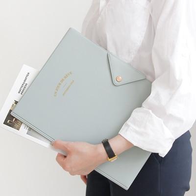 Vintage Snap File Folder Quality Faux Leather Folder A4 File Organizer Document File Bag For Documents