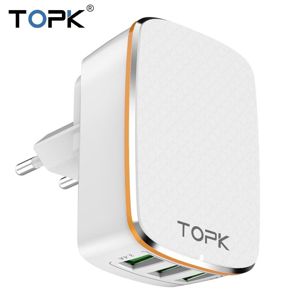 TOPK 3-Port 5 V/3.4A 17 W Auto-ID 2-EN-1 de LA UE y EE.UU. Pared del Recorrido del Teléfono Móvil USB Adaptador de cargador para el iphone Samsung Xiaomi Huawei
