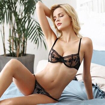 shaonvmeiwu Super thin no sponge transparent bra sexy bra set female perspective mesh embroidery underwear summer 3