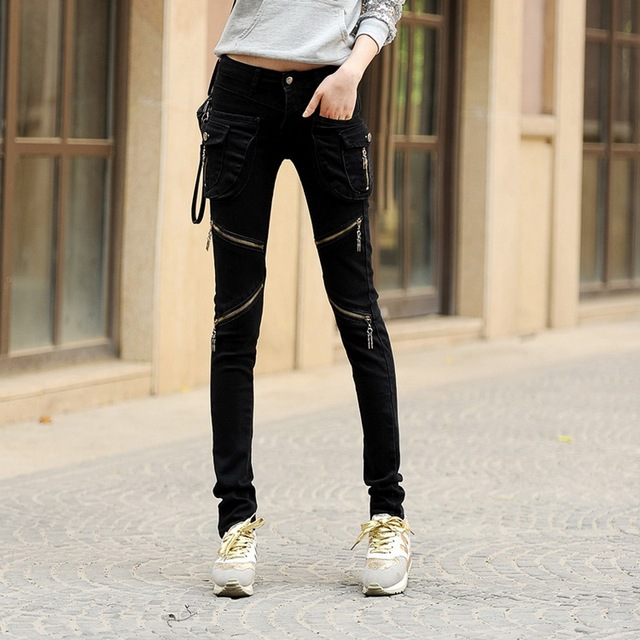 Autumn and winter trend Slim thin women's casual pants cool personality big pocket harem pants feet pants zipper