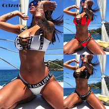 Sexy Letter Brazilian Bikini New Bikinis Mujer 2019 Swimwear Women Swimsuit Halter Push Up Bathing Suit Beach Wear Thong Biquini цена 2017