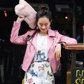2017 Mujeres del otoño del resorte juego de la chaqueta de cuero nueva moda faux leather biker jacket coat corta ocasional rosa negro marca motor