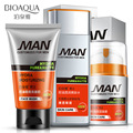 3Pcs/Lot BIOQAUA MAN Cool Freshing Skin Care Set Facial Cleanser/ Toner/  Moisturizing Face Cream