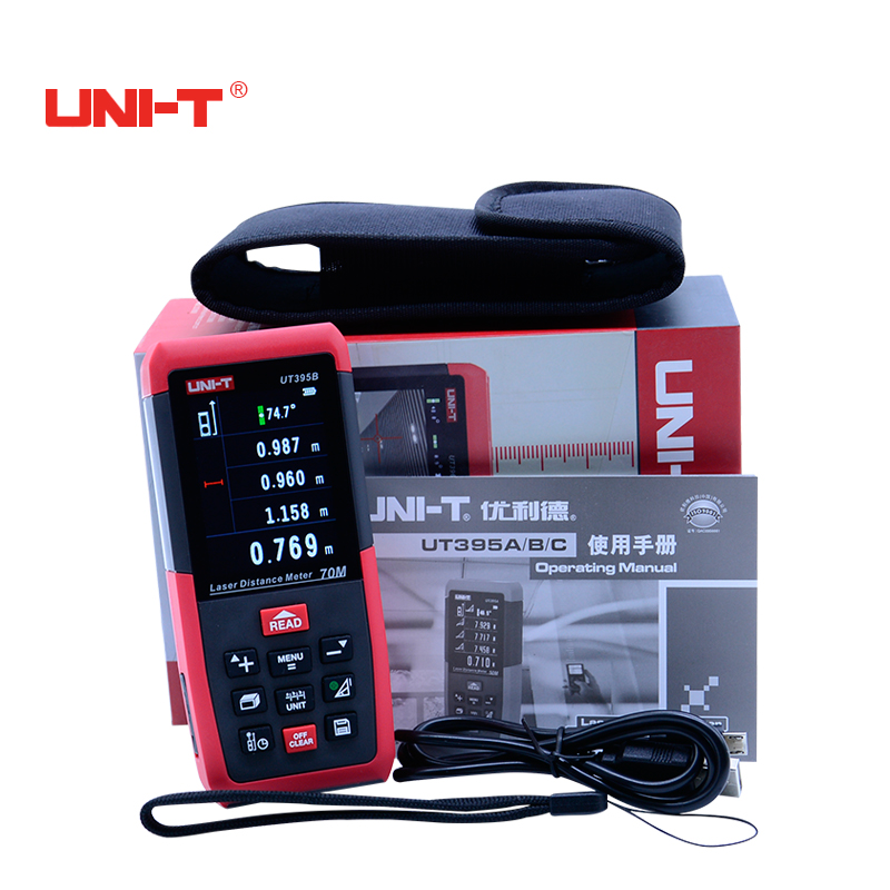 Professional Laser Distance Meters UNI-T UT395B 70M Digital Laser Range finder handhled distance tester Measure Area/volume Tool 0 05m 70m 230ft professional handheld laser range finder distance meter tester area volume pythagorean measure tecman tm70