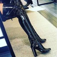Зима новые лакированной кожи над коленом высокой пятки сапоги круглый носок толстые каблуки женщина сапоги бедро высокие сапоги