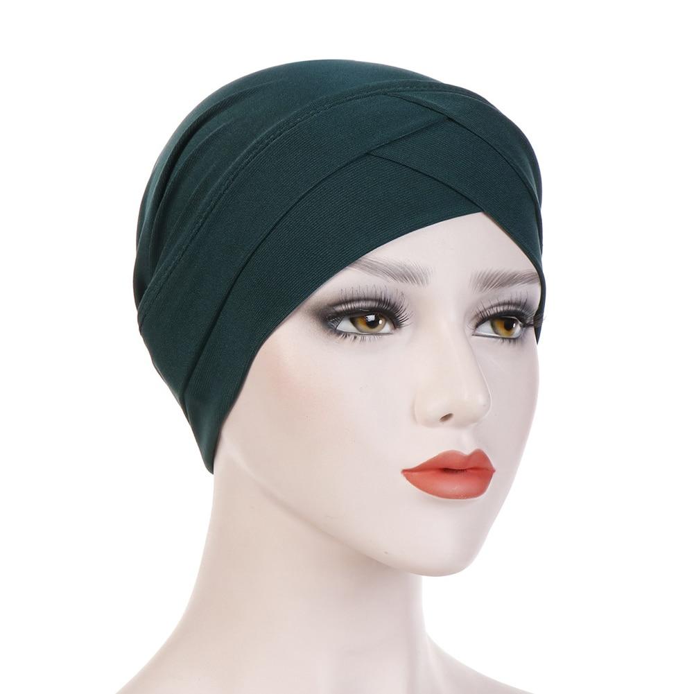 Хиджаб шарф тюрбан шапка s мусульманский головной платок Защита от солнца Кепка Женская хлопковая мусульманская многофункциональная тюрбан платок femme musulman - Цвет: dark green