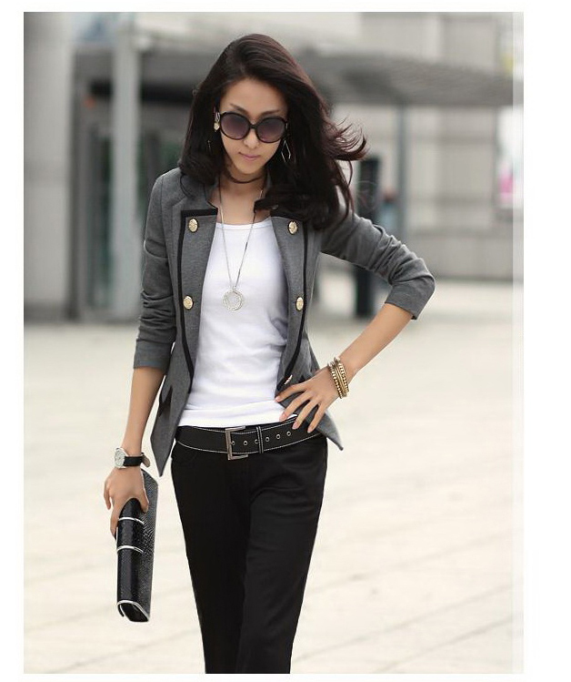 New Fashion 2017 Spring Suit Jacket Women Double Breasted Short ...