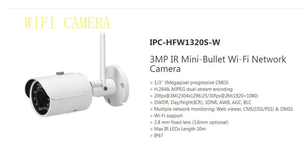 DAHUA IP Camera CCTV 3MP WIFI Small Fixed IR Bullet IP Camera IP67 Original English Version without Logo IPC-HFW1320S-W dahua 3mp ir waterproof