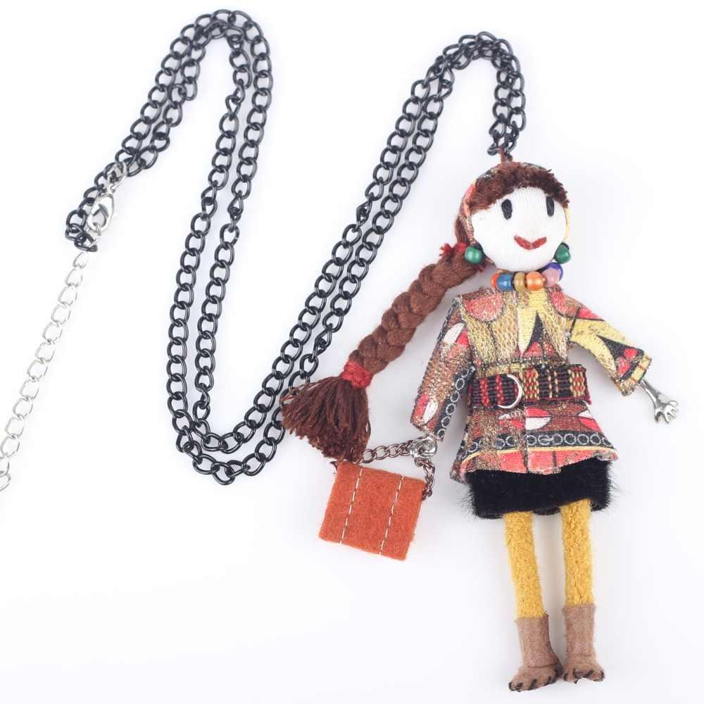 Bonsny ручная работа Kawaii французская Кукла Ожерелье зимнее эффектное ожерелье s милая кукольная подвеска 2015 Новинка чокер для девочек женские аксессуары
