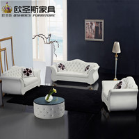 China Factory Sale Euro Hotel Pure White Chesterfield Furniture Livingroom New Model Cowhide Pvc Leather Sofa Sets Pictures F22