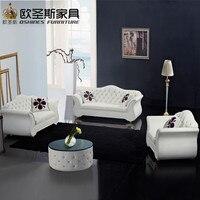 Chiny fabryka sprzedaż euro hotel pure white chesterfield meble salon new model wołowej pvc skórzana sofa ustawia zdjęcia F22