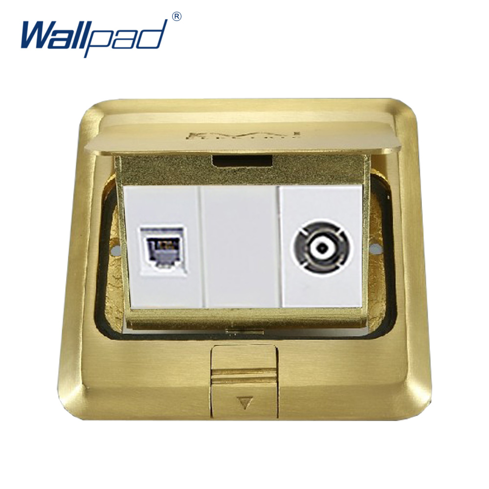 TV and Computer Floor Socket Wallpad Luxury Copper and SS304 Panel Damping Slow Open For Ground With Mouting Box wallpad luxury copper and ss304 panel us 6 pin floor socket damping slow open for ground with mouting box ac110 250v