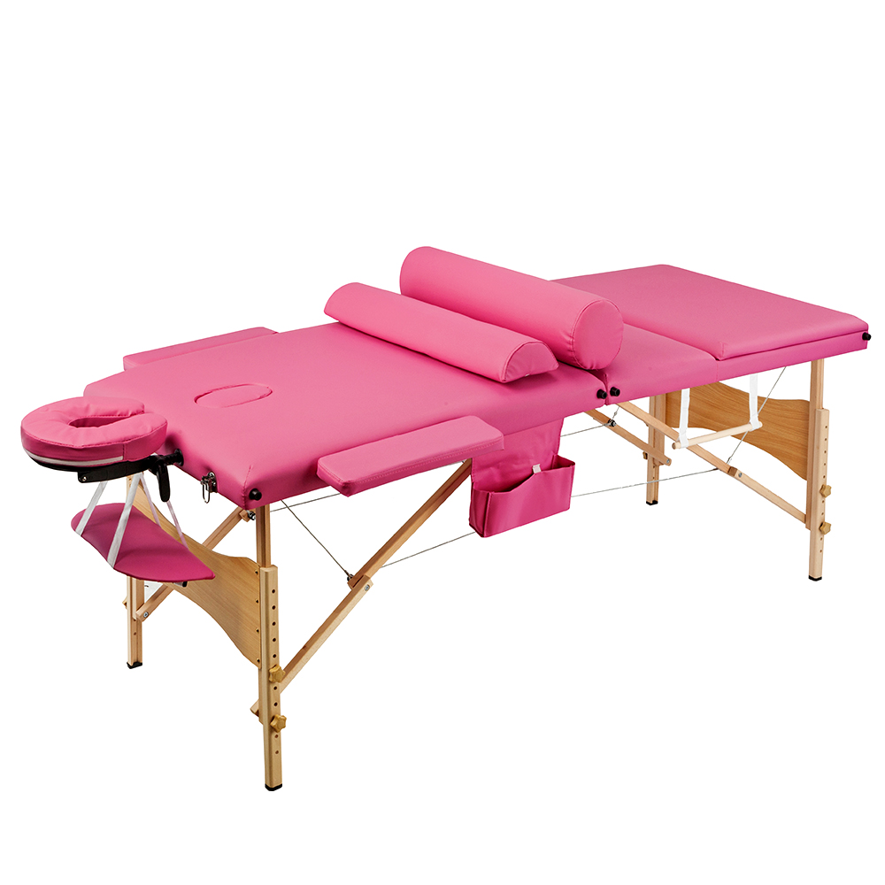 Portable  Folding Salon Bed Massage Table For Spa Tattoo  With 3  Adjustable Sections In Pink Or Blue 70CM - US Stock