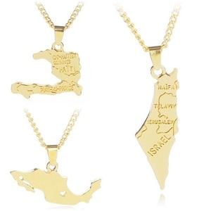 2018 кулон с картой мира, ожерелье для женщин, модное, страна Израиль, Мексика, состав, золотые ожерелья и подвески для женщин, подарки