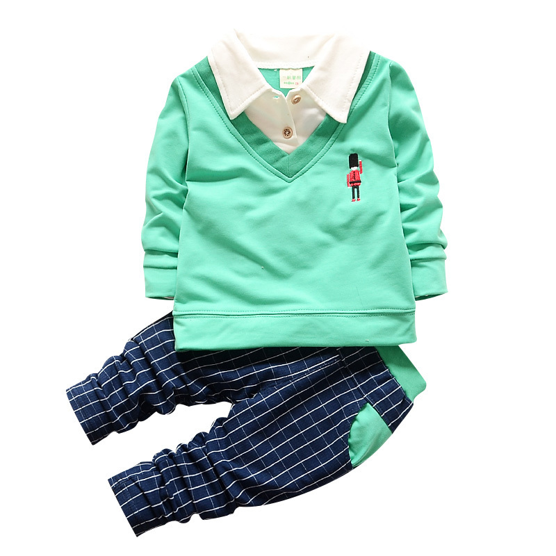 Fashion 2018 Spring Autumn Children Boy Girl Shirt Collar Clothing Baby T-shirt Pants 2 Pcs/Sets England Style Clothes Tracksuit new hot sale 2016 korean style boy autumn and spring baby boy short sleeve t shirt children fashion tees t shirt ages