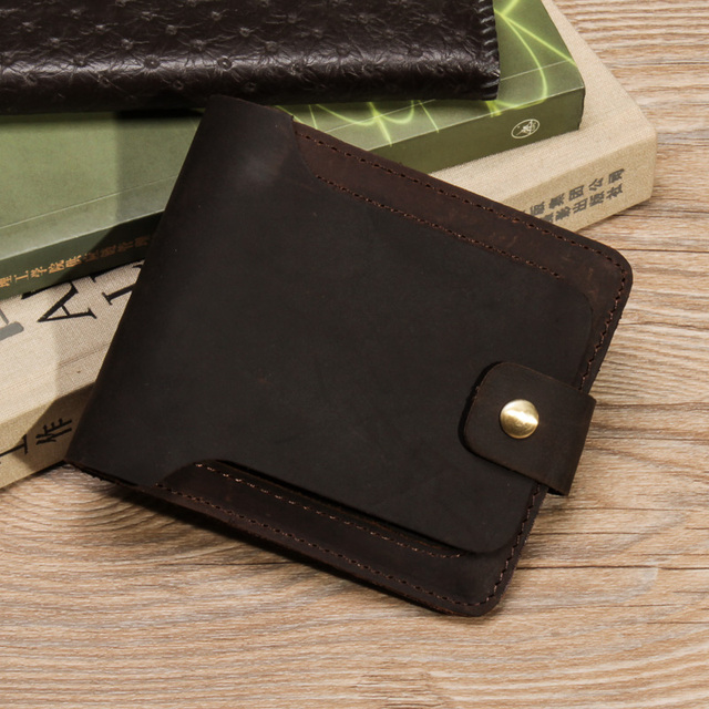 2016 Brand New Cattle Men Design Vintage crazy horse Genuine Real leather Short Card Holder Wallet Purse With Snap