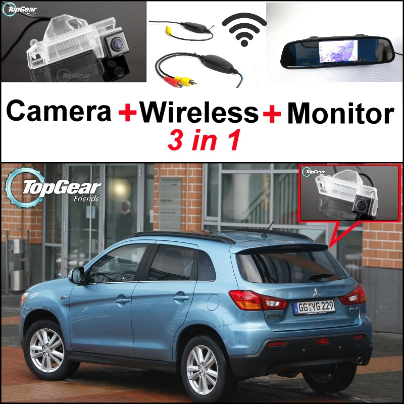 3 in1 Special Camera + Wireless Receiver + Mirror Monitor Easy Parking System For Mitsubishi ASX RVR Outlander Sport 2010~2015 wireless pager system 433 92mhz wireless restaurant table buzzer with monitor and watch receiver 3 display 42 call button