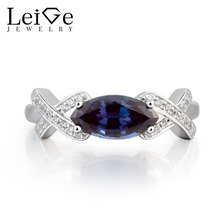 Leige Jewelry Alexandrite Engagement Ring Alexandrite Ring June Birthstone Marquise Cut Color Changing Gems 925 Sterling Silver