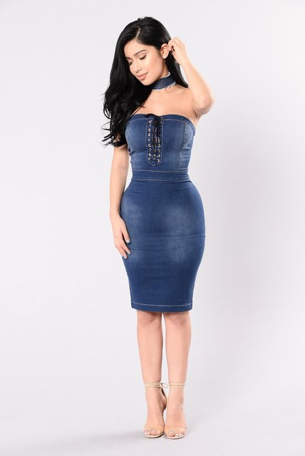 026c054240 Summer Women Sexy Nightclub Stretch Denim Dress 2017 New Strapless Zipper  Bandage Party Dresses Casual Blue Vestidos