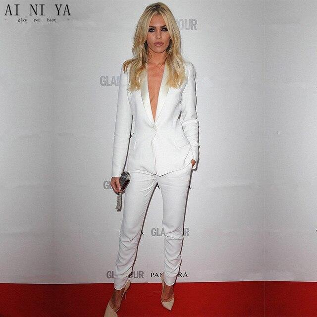 05156f7a2d2 Jacket+Pants New White Womens Business Work Suits Female Office Uniform  Slim Fit Ladies Formal Trouser Suits 2 Piece Sets Blazer