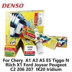 4 sztuk/zestaw DENSO świeca zapłonowa samochodu dla Chery A1 A3 A5 E5 Tiggo N rich X1 Ford Joyear Peugeot C2 206 207 IK20 Iridium