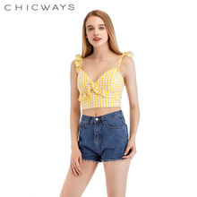 Chicways Sexy Summer Tanks Backless Gingham Ruffled crop top Check Plaid V-Neck sweetheart Holiday Short Tops zipper Back 2018 v neckline fluted sleeve gingham top