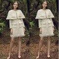 Moda outono inverno vestido vestido mulheres, cape top curto e vestido 2 peça set, elegante poncho jaqueta e escritório vestido de jaqueta de inverno