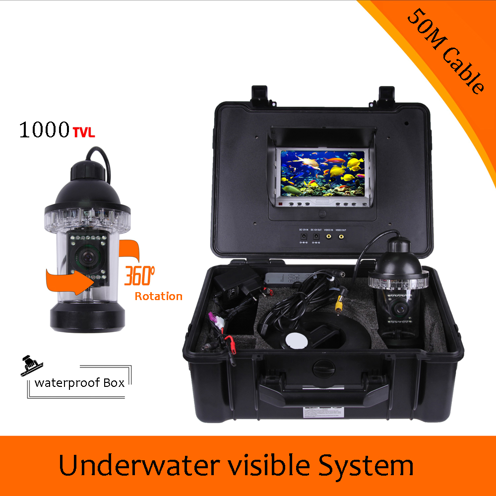 (1 Set) 50M Cable Inspection camera system 7inch LCD display night version underwater fishing camera Fish finder Free DHL 1 set 50m cable 360 degree rotative camera with 7inch tft lcd display and hd 1000 tvl line underwater fishing camera system