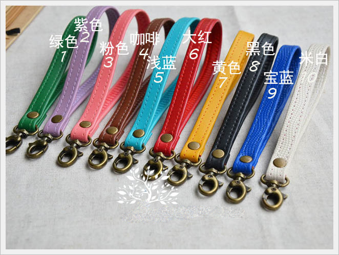 colorful PU leather strap for bag accessories handle with metal clasp for DIY purse 10pcs/lot
